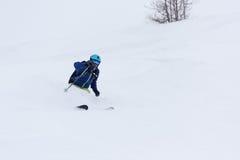 Freeride skier skiing in deep powder snow Stock Images