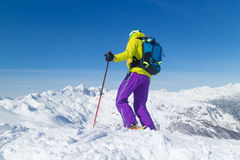 Freeride skier on the top of the mountain. Royalty Free Stock Photo