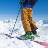 Freeride skier on the top of the mountain. Royalty Free Stock Images