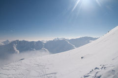 Freeride slope in the Alps Royalty Free Stock Photography