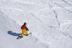 Freeride snowboarder kicks off the track,. Standing and looking down. View from above Stock Images