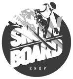 Freeride snowboarder in motion. Sport logo or emblem Royalty Free Stock Photos