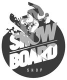 Freeride snowboarder in motion. Sport logo or emblem Royalty Free Stock Photo