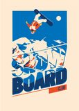 Freeride snowboarder in motion. Sport poster or emblem Royalty Free Stock Photo