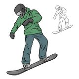 Freeride snowboarder rolls on a snow vector illustration sketch stock images