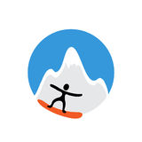 Freeride, snowboarder and snowy mountain , vector Royalty Free Stock Image