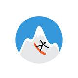 Freeride, snowboarder and snowy mountain , vector Stock Photography