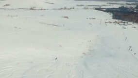 Freeride snowboarding. Aerial shot. Freeride snowboarding in sunny day. Aerial footage stock video footage