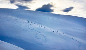 Freeride. On the snowy slope Royalty Free Stock Photo