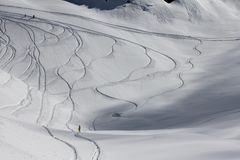 Freeride, tracks on a slope.  Royalty Free Stock Images