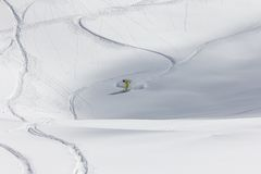 Freeride, tracks on a slope.  Stock Image