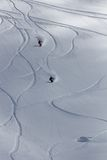Freeride, tracks on a slope.  Royalty Free Stock Photos