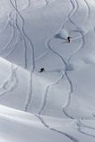 Freeride, tracks on a slope Stock Photos