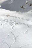 Freeride, tracks on a slope Stock Image