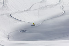 Freeride, tracks on a slope.  Stock Images