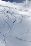Freeride, tracks on a slope.  Royalty Free Stock Photo