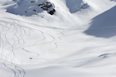 Freeride, tracks on a slope Royalty Free Stock Photos