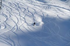 Freeride, tracks on a slope.  Stock Photo