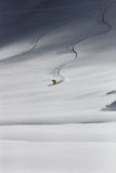 Freeride, tracks on a slope Stock Images