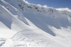 Freeride, tracks on a slope Stock Photography