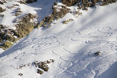 Freeride, tracks on a slope Royalty Free Stock Image