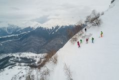 Freeride utbildning i Sochi Royaltyfria Bilder