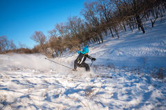 Freeride in the winter forest. First snow. Woman skiing downhill, makes a turn Royalty Free Stock Images