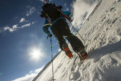 Freerider Climbing A Mountain Royalty Free Stock Image