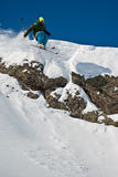 Freerider jumping from the steep. Caucasus mountains Stock Photography