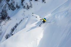 Freerider narciarscy skłony z różą przy szczytem Rosa Khutor Rosja, Sochi Zdjęcia Stock