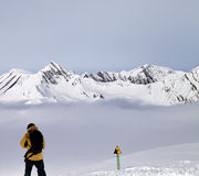 Freerider on off-piste slope in mist Royalty Free Stock Images