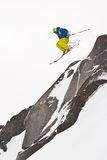 Freerider saltando nell'le montagne Fotografie Stock Libere da Diritti