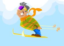 A freerider skier during a jump Royalty Free Stock Photos