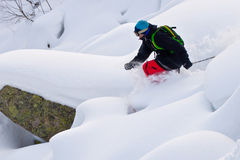 Freerider skiing in Siberia Royalty Free Stock Images