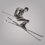 Freerider is skiing. Royalty Free Stock Photo