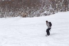 Freeriding żeński snowboarder z kopii przestrzenią. zdjęcia stock