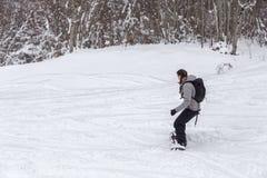 Freeriding för skog av en kvinnlig snowboarder Arkivbild