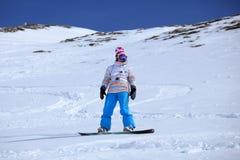 freeriding snowboarder Royaltyfri Fotografi