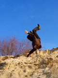 Freerunning trick from steep Royalty Free Stock Image