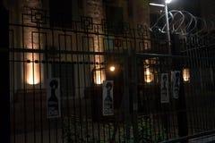 FreeSentsov nocy akcja dla poparcie Ukraińskiego filmowa Oleg Sentsov Obrazy Stock