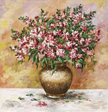 Freesia in a clay pot. Picture oil paints on a canvas: bouquet of freesia in a clay pot Stock Image