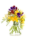 Freesia flowers. Bunch in a vase Isolated on white Stock Photo