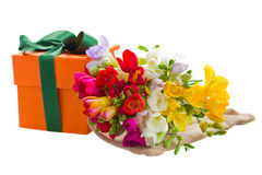 Freesia flowers and gift box Royalty Free Stock Photography