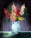 Freesia in a white amphora. Picture oil paints on a canvas: bouquet of freesia in a white amphora Stock Photo