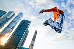 Freeskate. Get Away from the Office! - wide-angle shot, little motion blur Stock Images
