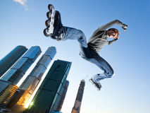 Freeskate. Get Away from the Office! - wide-angle shot, little motion blur Royalty Free Stock Photos