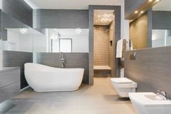 Freestanding bath in modern bathroom. Designed freestanding bath in gray modern bathroom Royalty Free Stock Photography
