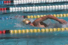 Freestyle action. Freestyle swimming in full motion with water droplets Stock Photo