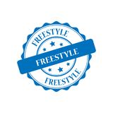Freestyle stamp illustration. Freestyle blue stamp seal illustration design Stock Photos
