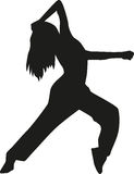 Freestyle dancing woman. Silhouette of Freestyle dancing woman Stock Photography